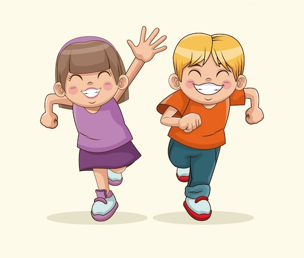 Fijne kinderdag. jongen en meisje lieve kinderen