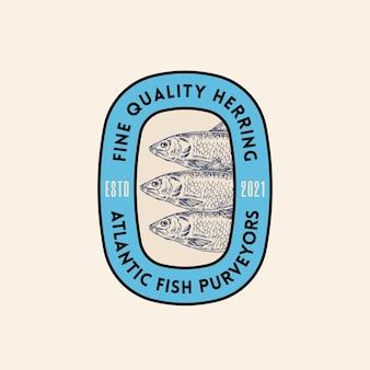 Fijne kwaliteit atlantische haring leveranciers abstract vector teken symbool of logo sjabloon hand getekende herr...