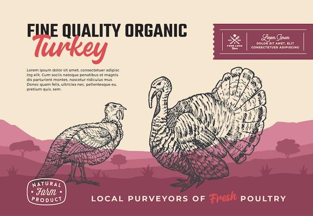 Fijne kwaliteit biologisch gevogelte. abstract vlees verpakkingsontwerp