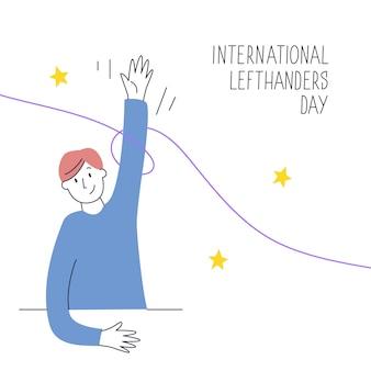 Fijne linkshandige dag. 13 augustus, internationale viering van de linkshandigen. de linkerhand houdt een pen vast en schrijft. illustratie voor linkshandige bronnen zoals websites, winkels etc.