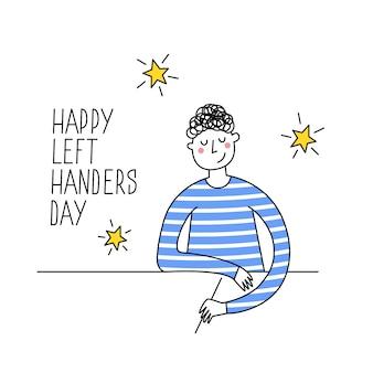 Fijne linkshandige dag. 13 augustus, internationale wenskaart voor linkshandigen. steun je linkse vriend. linkshandige jongen die schrijft of trekt. illustratie, moderne lijnstijl