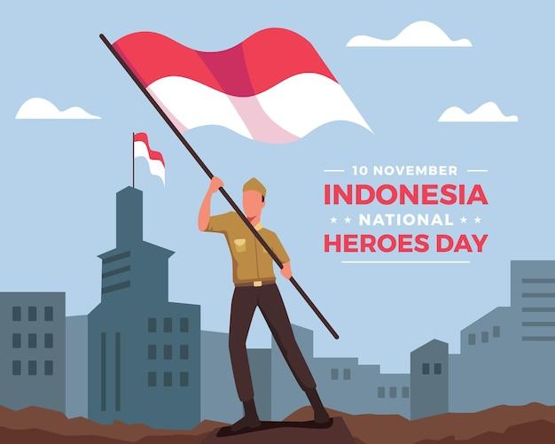 Fijne nationale heldendag. indonesische soldaat loopt met de vlag van indonesië. de viering van de indonesische nationale heldendag. vectorillustratie in een vlakke stijl