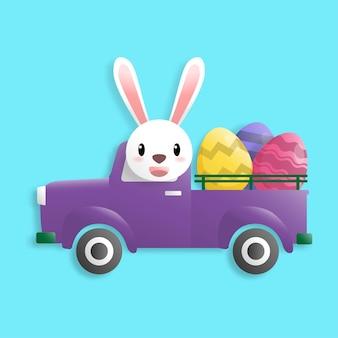 Fijne paasdag in papieren kunststijl met konijn en paaseieren. wenskaart, posters en behang. vector illustratie. Premium Vector