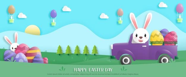 Fijne paasdag in papierkunststijl met konijn en paaseieren. wenskaart, posters en behang. spandoek. vector illustratie.