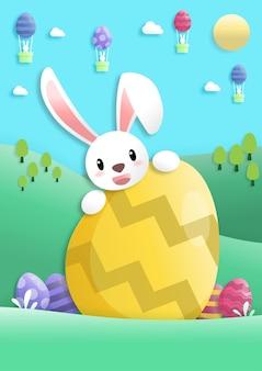 Fijne paasdag in papierkunststijl met konijn en paaseieren. wenskaart, posters en behang. vector illustratie.