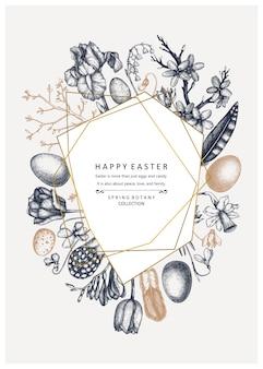 Fijne paasdag . trendy collage voor het ontwerp van de lentebanner, wenskaart of uitnodiging. hand getrokken lente illustraties. vintage pasen-sjabloon met gouden foliedecoratie. bloemen kunst.