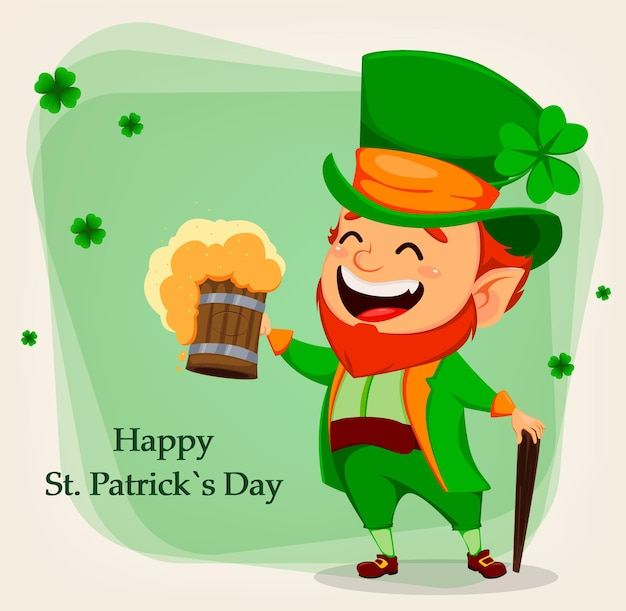 Fijne saint patrick's day. cartoon karakter kabouter