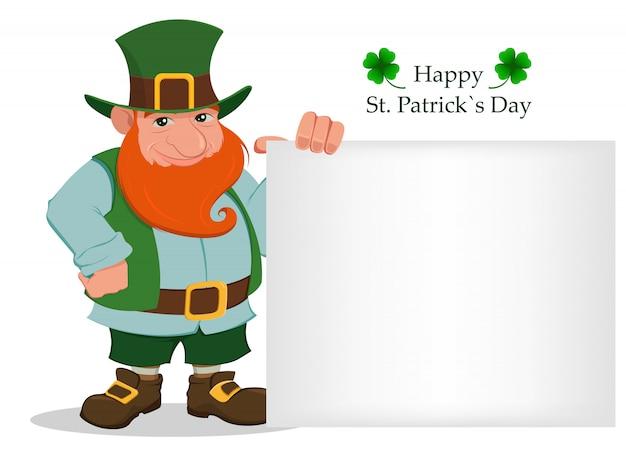 Fijne saint patrick's day. cartoon leprechaun