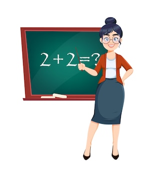 Fijne techer-dag. leuke vrouwelijke leraar stripfiguur permanent in de buurt van schoolbord terwijl wiskunde les. voorraad vectorillustratie.