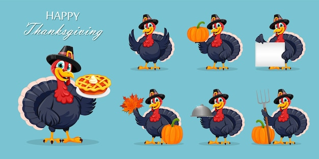 Fijne thanksgiving day. grappige turkije vogel