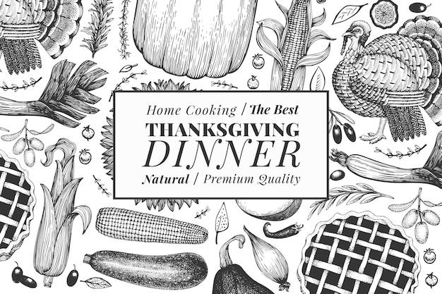 Fijne thanksgiving day. hand getekende illustraties. groet thanksgiving ontwerpsjabloon in retro stijl. herfst achtergrond.