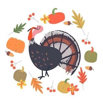 Fijne thanksgiving een grappige zelfvoldane turkije