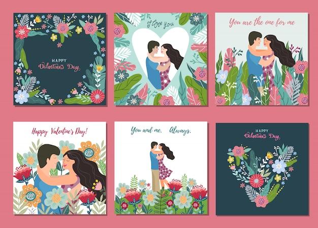 Fijne valentijnsdag. aantal illustraties voor kaart