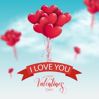 Fijne valentijnsdag. bos van rode luchtballons die in de lucht vliegen. Premium Vector