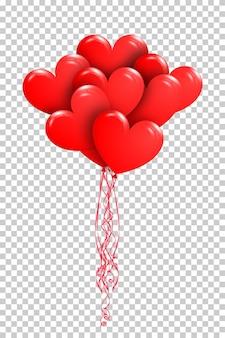 Fijne valentijnsdag. bos van rode luchtballons in de vorm van hart Premium Vector
