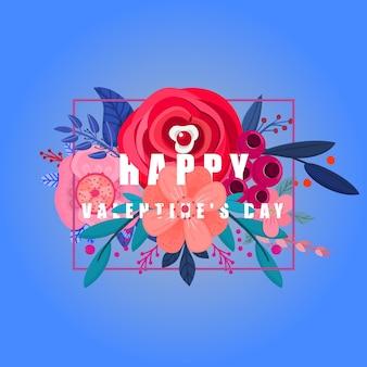 Fijne valentijnsdag, gefeliciteerd met bloemen en in een lijst