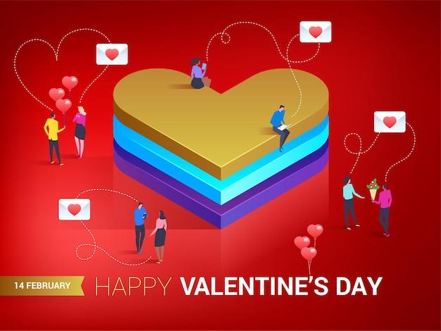 Fijne valentijnsdag. hart in isometrische stijl. er is liefde in de lucht. kleine mensen berichten naar elkaar.
