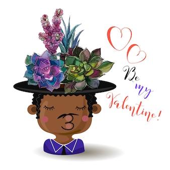 Fijne valentijnsdag. jongen met bloemen vetplanten. waterverf.
