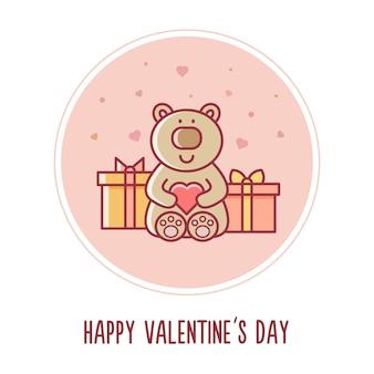 Fijne valentijnsdag. knuffelbeer. vector illustratie.