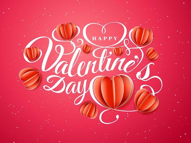 Fijne valentijnsdag. lettertype samenstelling met papier rode harten geïsoleerd op rode achtergrond. vector mooie vakantie romantische illustratie. papieren ambachtelijke stijl.