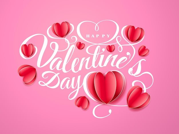 Fijne valentijnsdag. lettertype samenstelling met papier rode harten geïsoleerd op roze achtergrond. vector mooie vakantie romantische illustratie. papieren ambachtelijke stijl.