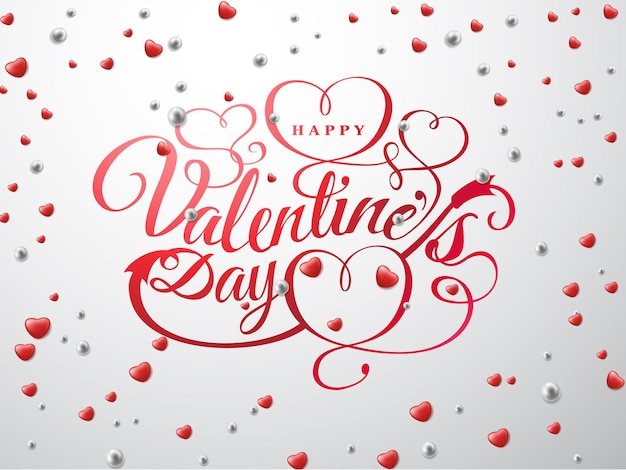 Fijne valentijnsdag. lettertype samenstelling met rode harten en zilveren kralen geïsoleerd op de achtergrond. vector vakantie romantische illustratie.