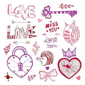 Fijne valentijnsdag. leuke doodle collectie met harten, belettering
