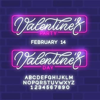 Fijne valentijnsdag. neon gloeiende tekst. 80s retro bannermalplaatje.