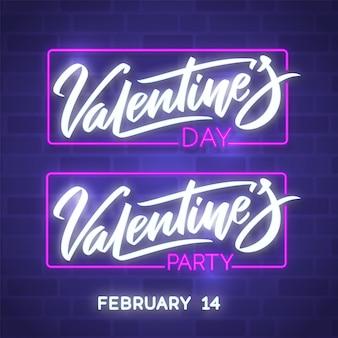 Fijne valentijnsdag. neon gloeiende tekst. nachtclub elektrisch licht bord