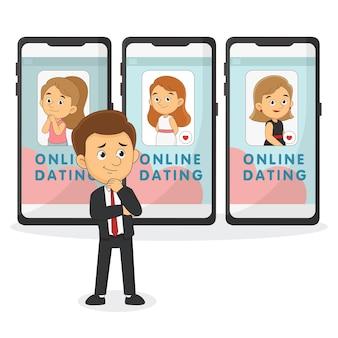 Fijne valentijnsdag, online daten. alleenstaande man op zoek paar op telefoon dating-app. mannen kiezen tussen meisjes