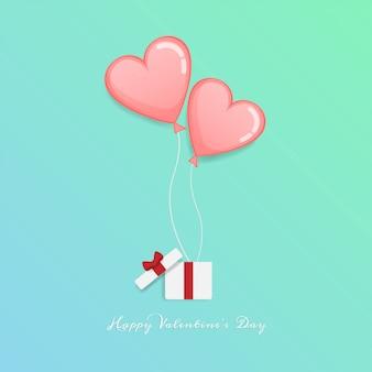 Fijne valentijnsdag. open geschenkdoos met hart zweeft omhoog