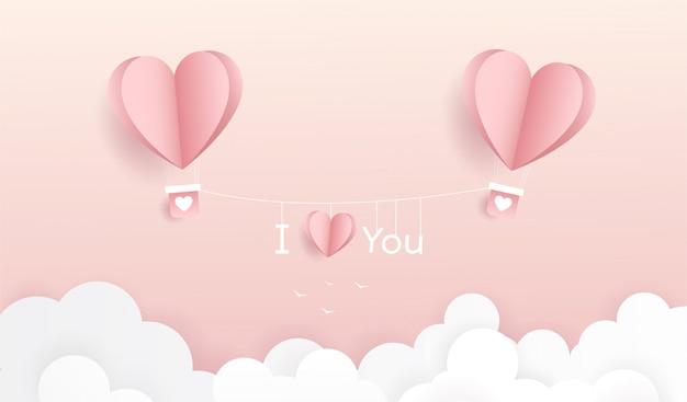 Fijne valentijnsdag. origami maakte hete luchtballon vliegen