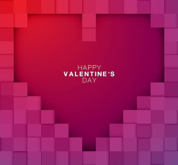 Fijne valentijnsdag. pixel ontwerp grote hart kunst en abstract.