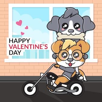 Fijne valentijnsdag. schattige cartoon karakter van paar hond rijden op een motorfiets