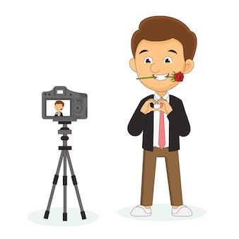 Fijne valentijnsdag, studio blog-opname op camera, man zegt dat ik van je hou