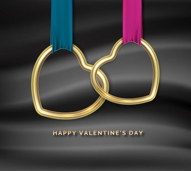 Fijne valentijnsdag. twee gouden hartvormen onderling verbonden