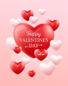 Fijne valentijnsdag. vakantiebanner, flyer, poster, wenskaart, omslag.