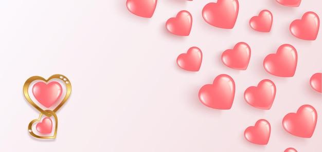 Fijne valentijnsdag. vliegende gel roze ballonnen. horizontale banner met plaats voor tekst.