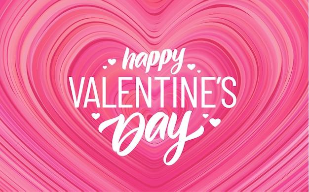 Fijne valentijnsdag. wenskaart met modern roze stroomhart.
