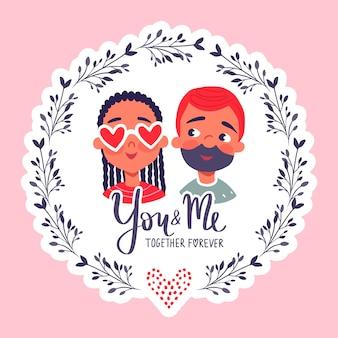Fijne valentijnsdag. wenskaart met schattige paar