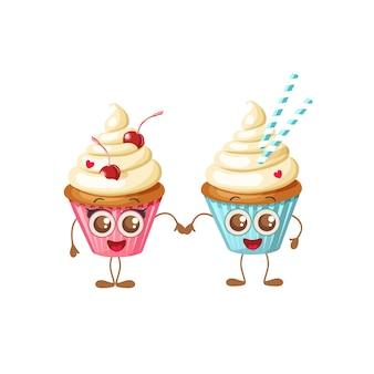 Fijne valentijnsdag. zoete cupcakes met ogen geïsoleerd op wit.