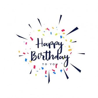 Fijne verjaardag belettering met confetti