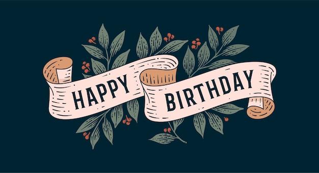 Fijne verjaardag. retro wenskaart met lint en tekst happy birthday.