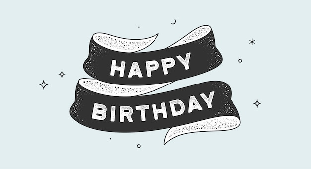 Fijne verjaardag. vintage lint met tekst gelukkige verjaardag.