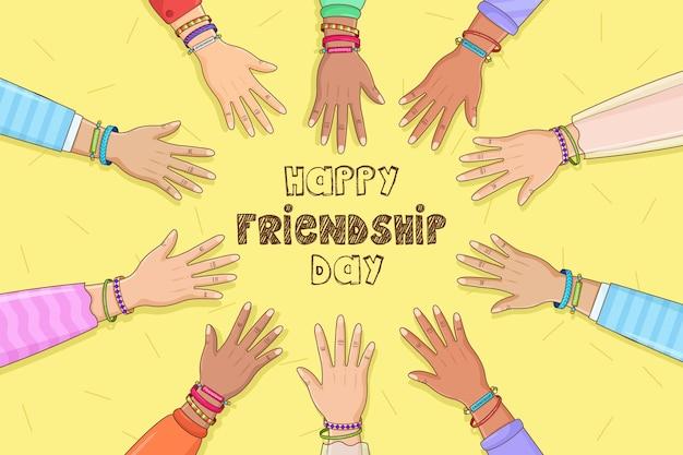 Fijne vriendschapsdag webbanner met diverse vriendengroep mensen die samen knuffelen voor een speciale gebeurtenisviering