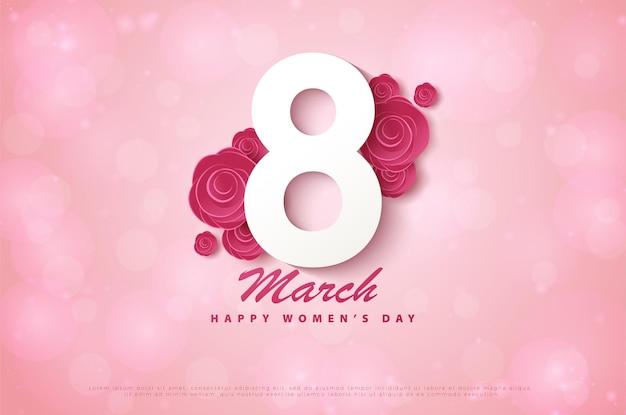 Fijne vrouwendag 8 maart met 3d-figuren over bloemen.