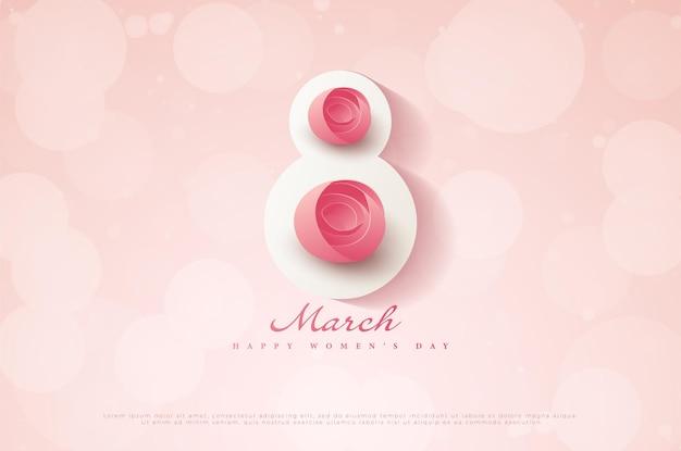 Fijne vrouwendag op 8 maart met twee prachtige bloemen.
