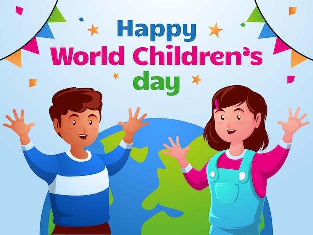 Fijne wereld kinderdag Premium Vector