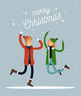Fijne wintervakantie. warm geklede mensen in de sprong. vrolijk kerstfeest. illustratie