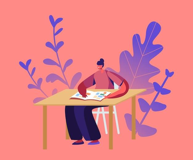 Filatelist vrouwelijk personage zit aan tafel en kijkt naar album met filateliezegels